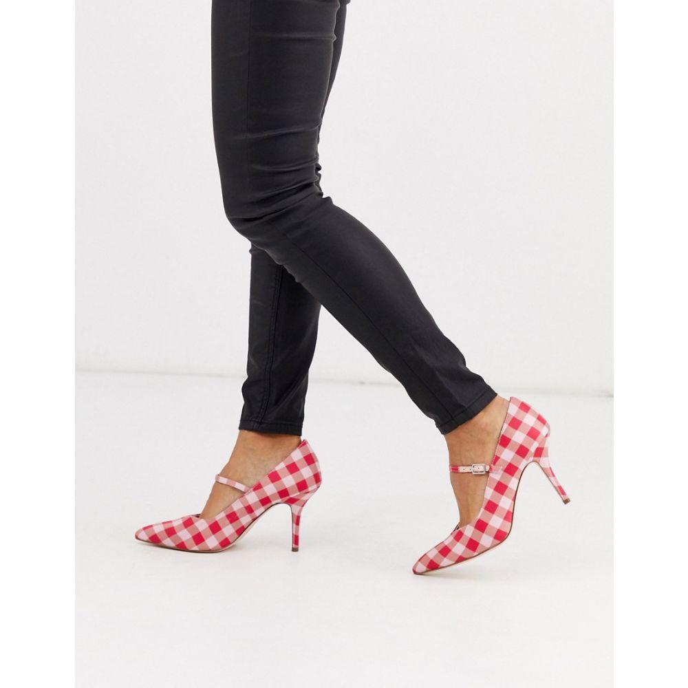 エイソス ASOS DESIGN レディース ヒール シューズ・靴【Strallen mary-jane mid heels in pink gingham】Pink gingham