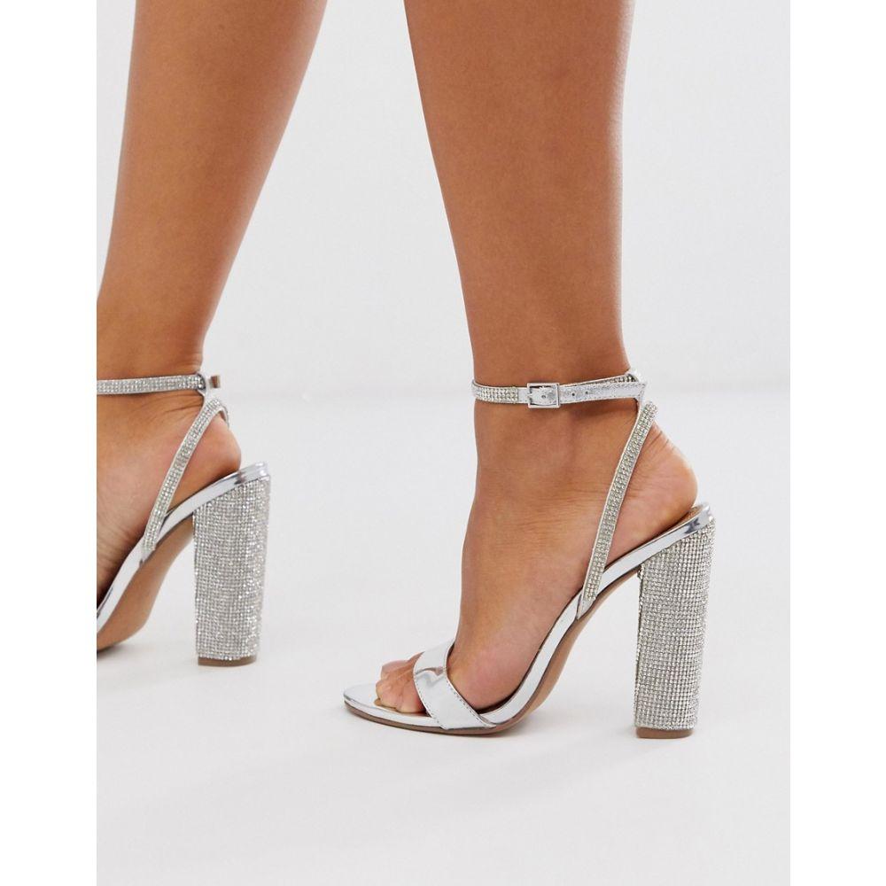 エイソス ASOS DESIGN レディース サンダル・ミュール シューズ・靴【Hot Step embellished block heeled sandals in silver】Silver