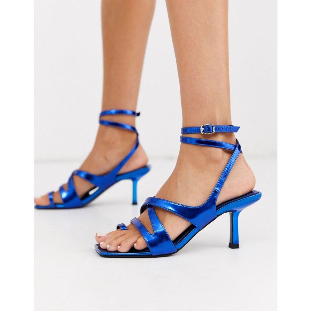 エイソス ASOS DESIGN レディース サンダル・ミュール シューズ・靴【Harley strappy toe loop mid-heeled sandals in blue metallic】Blue metallic