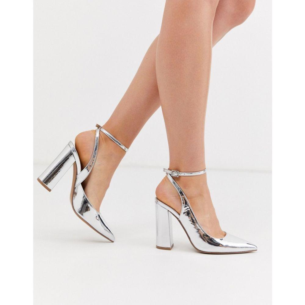 エイソス ASOS DESIGN レディース ヒール シューズ・靴【Pace high block heels in silver】Silver mirror