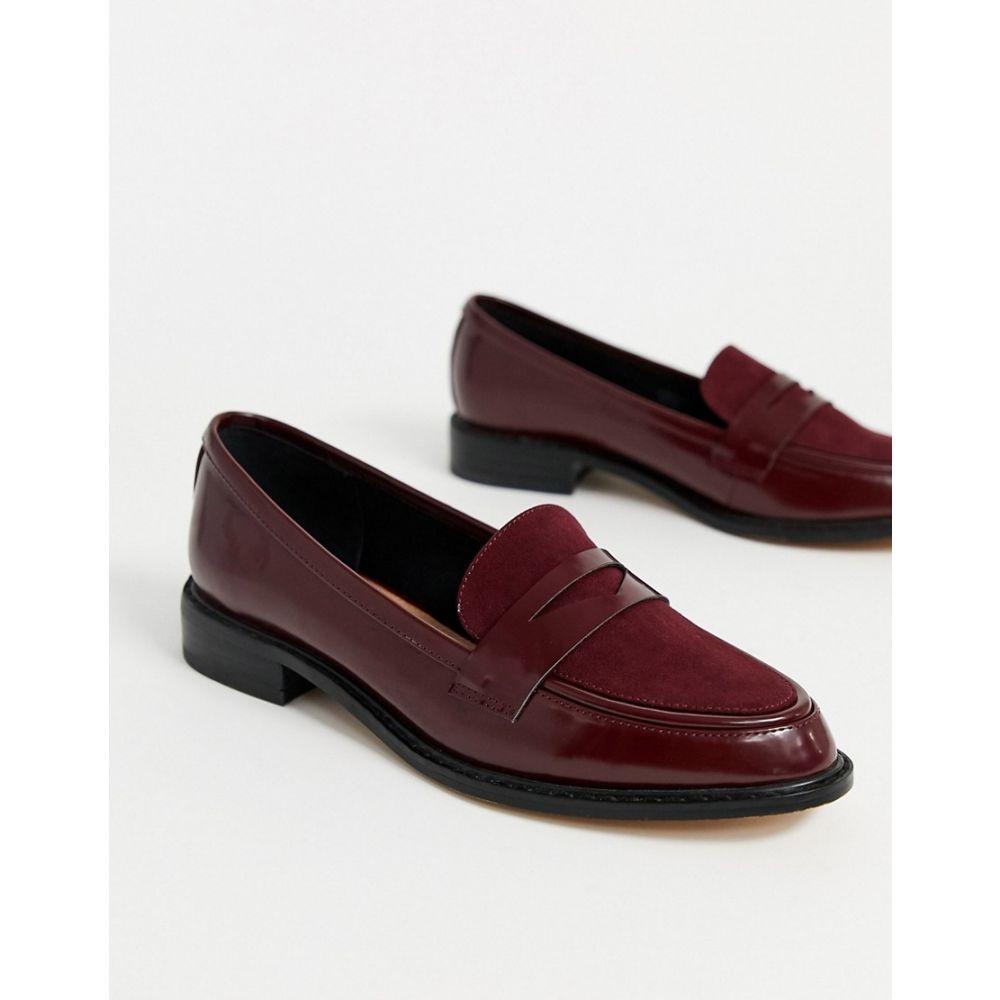 エイソス ASOS DESIGN レディース ローファー・オックスフォード シューズ・靴【Mantra loafer flat shoes in burgundy】Burgundy mix