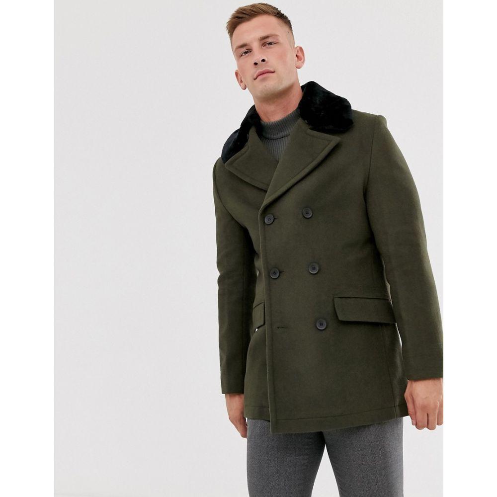 フレンチコネクション French Connection メンズ コート ピーコート アウター【wool rich double breasted pea coat with faux fur collar】Khaki