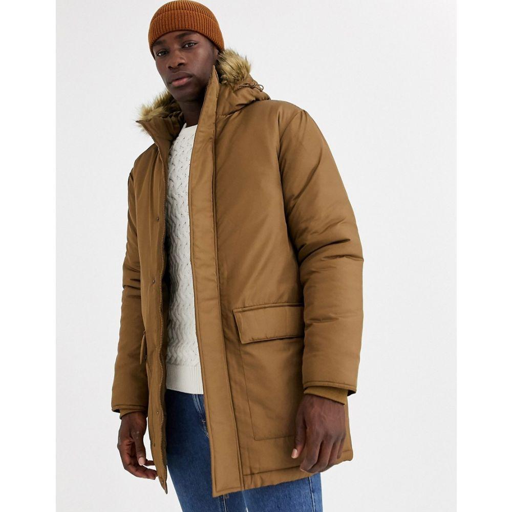 フレンチコネクション French Connection メンズ コート アウター【faux fur hood parka jacket】Brown