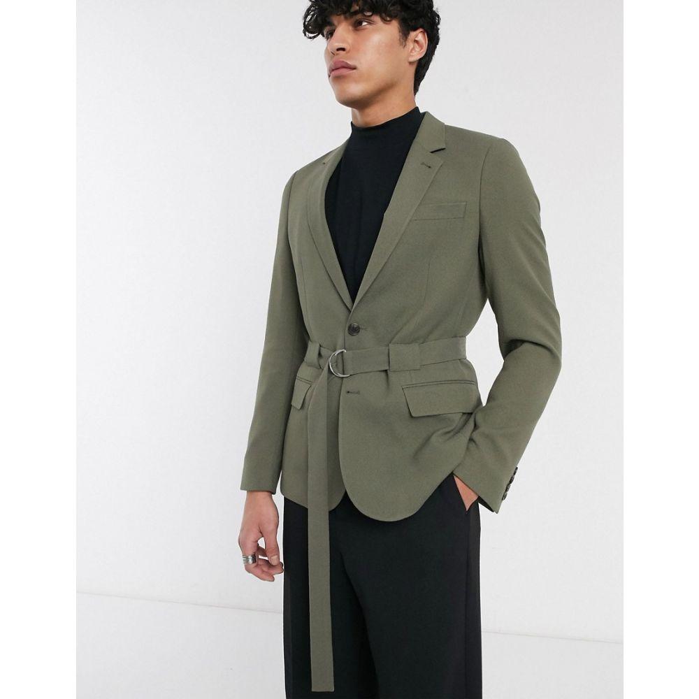 エイソス ASOS DESIGN メンズ スーツ・ジャケット アウター【skinny belted blazer in khaki】Green
