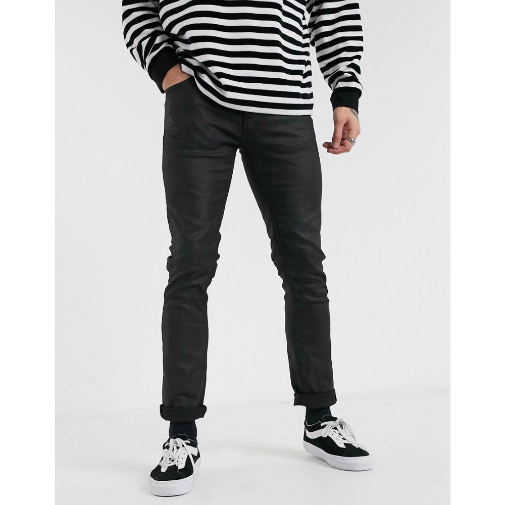 ヌーディージーンズ Nudie Jeans メンズ ジーンズ・デニム ボトムス・パンツ【Grim Tim slim straight fit coated jeans in dry black mind】Black