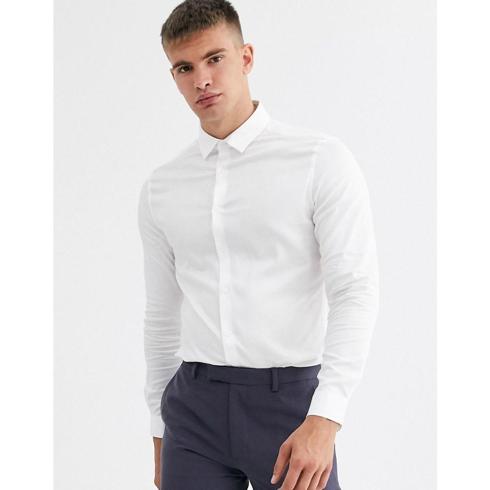 エイソス ASOS DESIGN メンズ シャツ トップス【skinny fit textured shirt in white】White