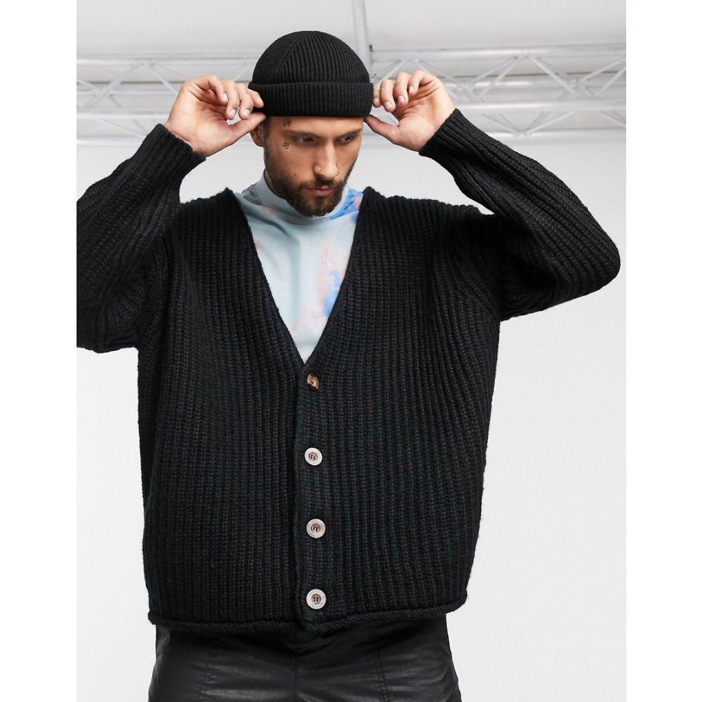 エイソス ASOS DESIGN メンズ カーディガン トップス【heavyweight oversized cocoon cardigan in black】Black