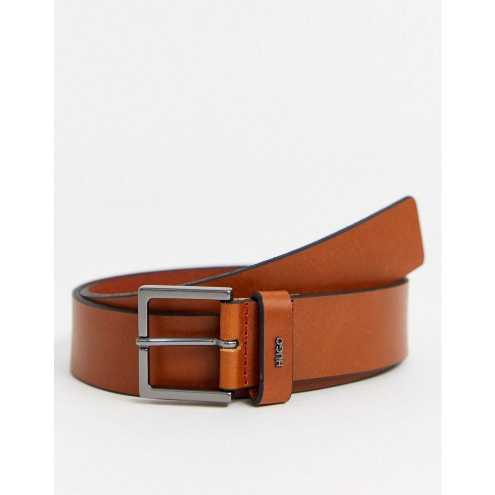ヒューゴ ボス HUGO メンズ ベルト 【Giove smart logo detail leather belt in tan】Tan