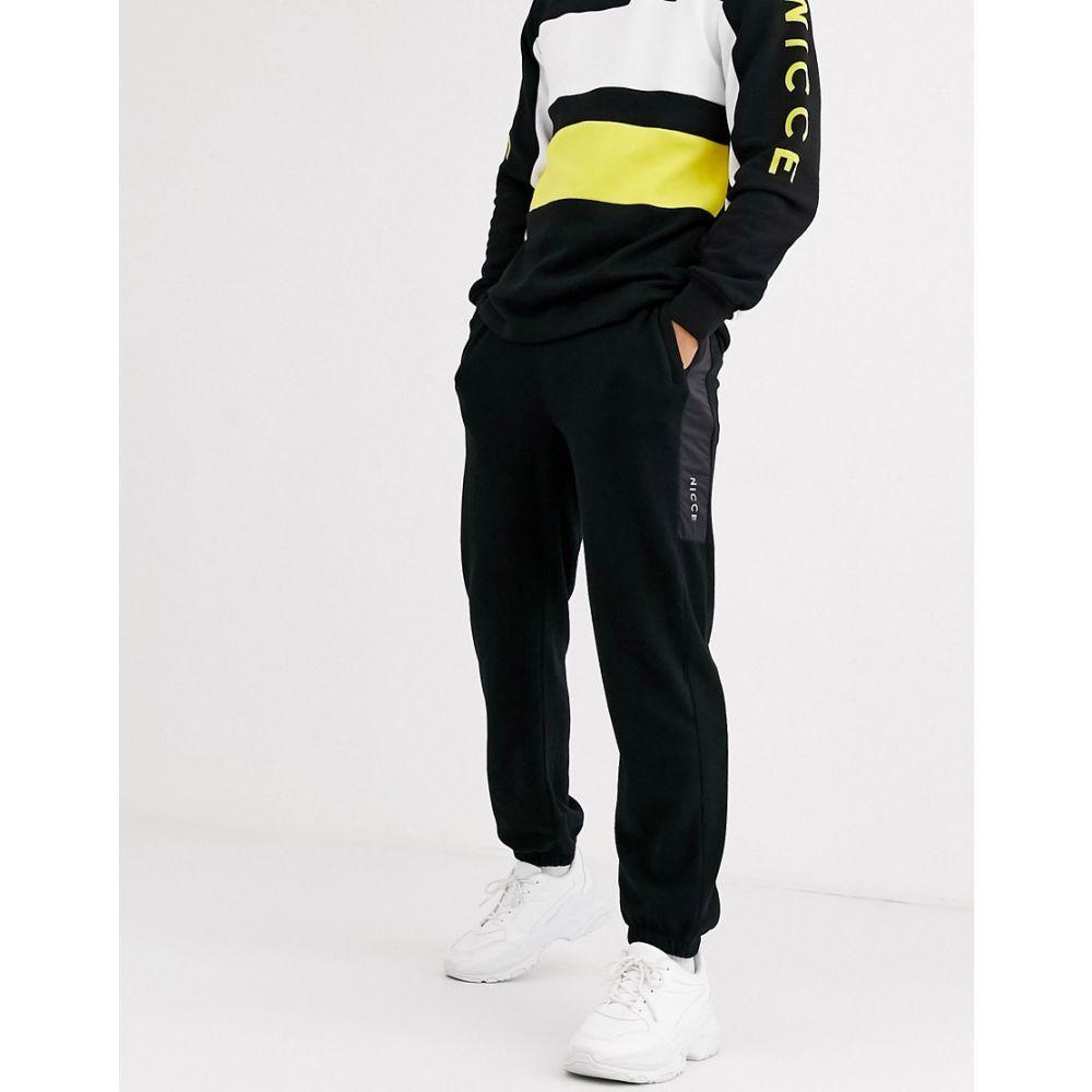 ニッチェ ロンドン Nicce メンズ ジョガーパンツ ボトムス・パンツ【joggers in black polar fleece with nylon panel】Black