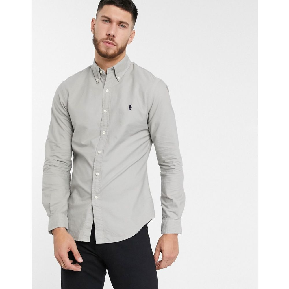 ラルフ ローレン Polo Ralph Lauren メンズ シャツ トップス【slim fit oxford shirt in grey garment dye with logo】Grey fog