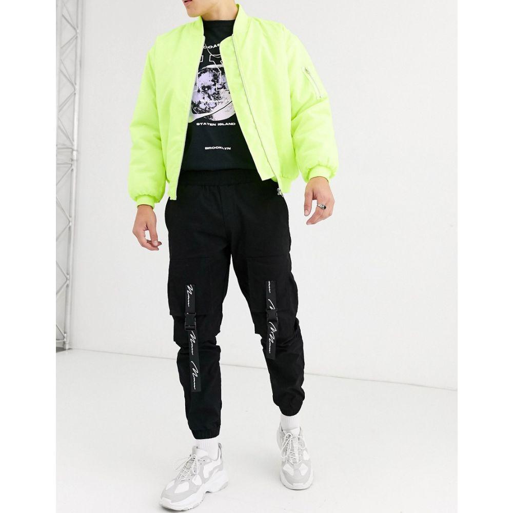 ブーフー boohooMAN メンズ ジョガーパンツ ボトムス・パンツ【man signature woven cargo joggers with straps in black】Black