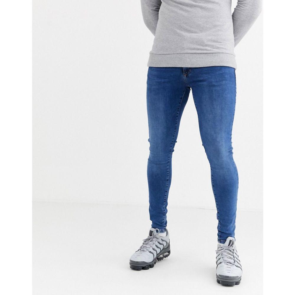 リバーアイランド River Island メンズ ジーンズ・デニム ボトムス・パンツ【spray on jeans in mid blue wash】Mid blue