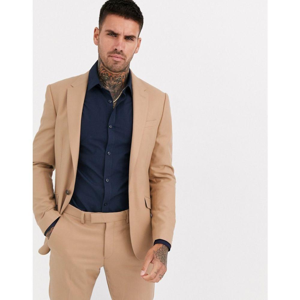 リバーアイランド River Island メンズ スーツ・ジャケット アウター【skinny suit jacket in camel】Camel