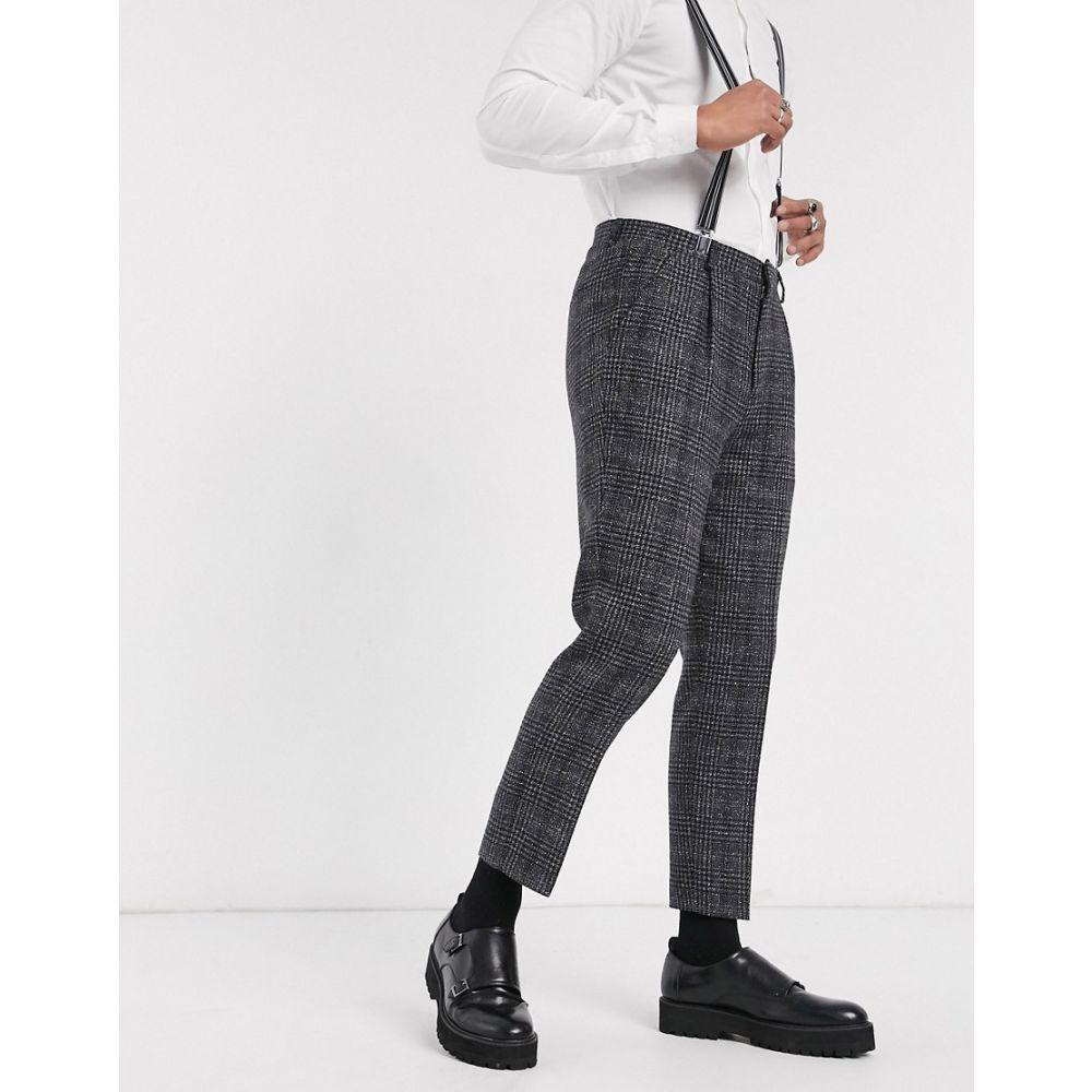 シェルビー&サンズ Shelby & Sons メンズ スラックス ボトムス・パンツ【slim suit trouser with single pleat in charcoal heritage check】Charcoal