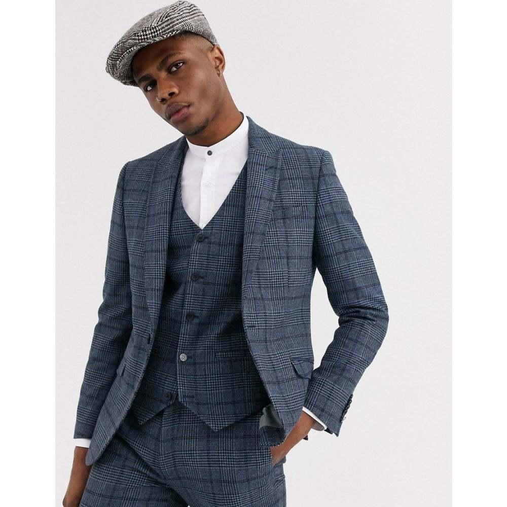 シェルビー&サンズ Shelby & Sons メンズ スーツ・ジャケット アウター【slim suit jacket in blue check】Blue