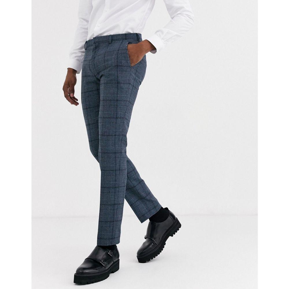 シェルビー&サンズ Shelby & Sons メンズ スラックス ボトムス・パンツ【slim fit suit trouser in blue check】Blue