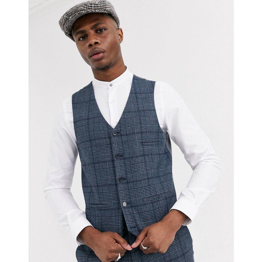 シェルビー&サンズ Shelby & Sons メンズ ベスト・ジレ トップス【slim waistcoat in blue check】Blue