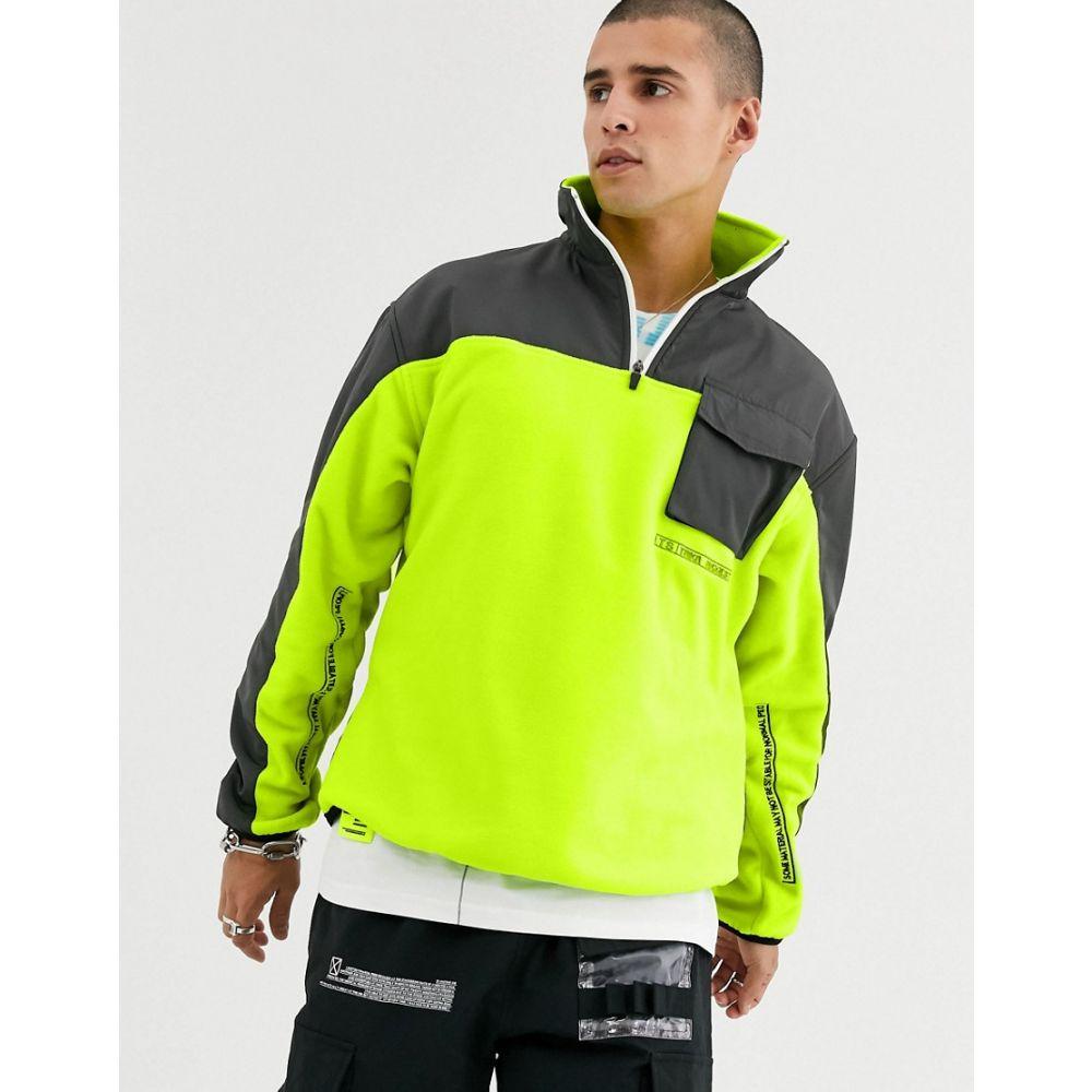 タカ オリジナル Taka Original メンズ フリース トップス【neon polar fleece with half zip and nylon panels】Yellow