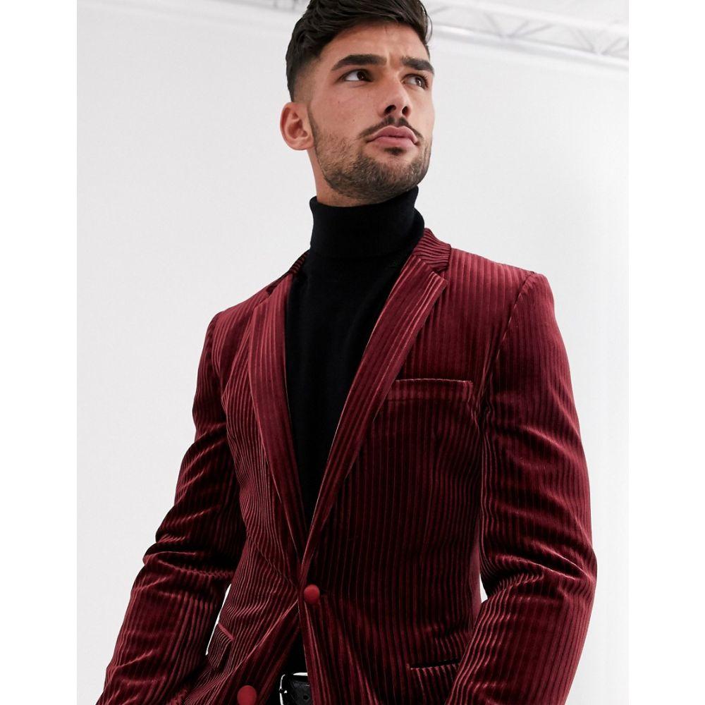 エイソス ASOS DESIGN メンズ スーツ・ジャケット アウター【super skinny blazer in burgundy velvet stripe】Burgundy