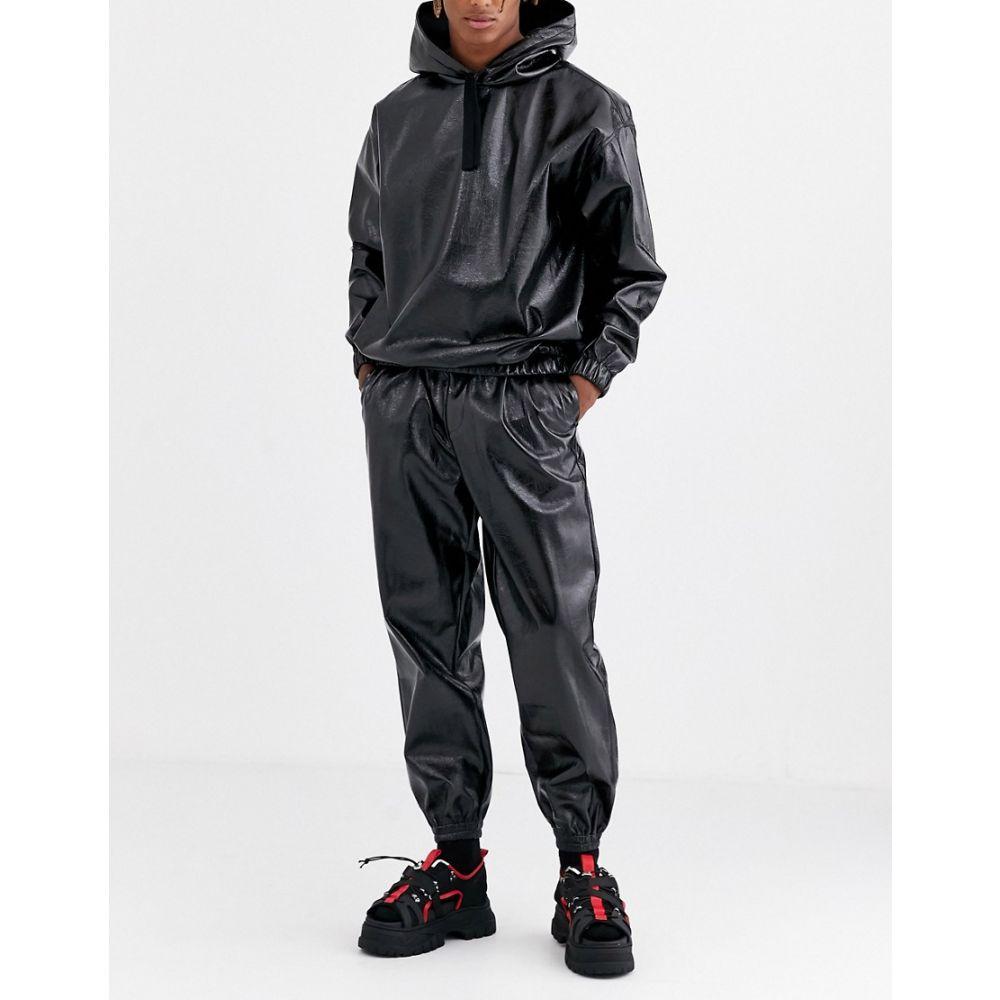 エイソス ASOS DESIGN メンズ ジョガーパンツ ボトムス・パンツ【co-ord tapered joggers in leather look fabric in black】Black