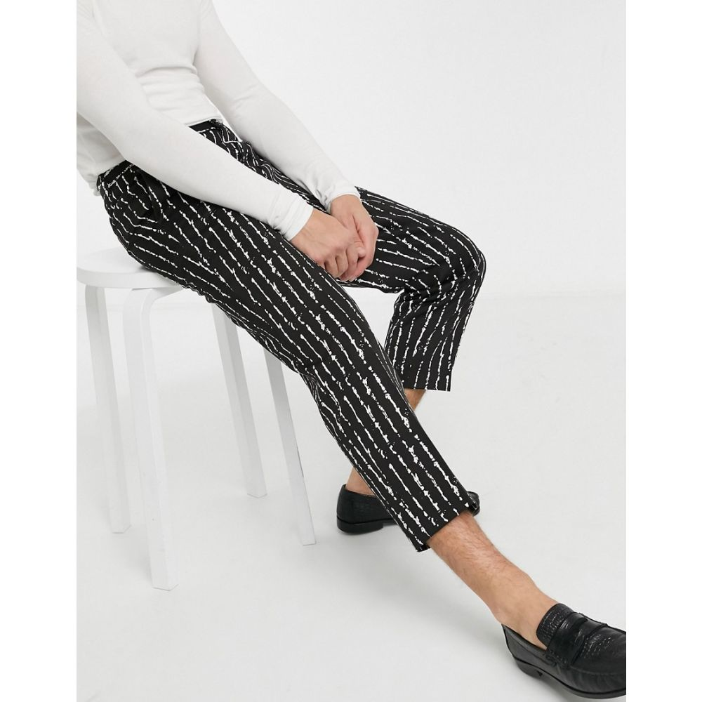 ヴィーゴ Viggo メンズ ボトムス・パンツ 【smart trousers with white inked stripe in black】Black