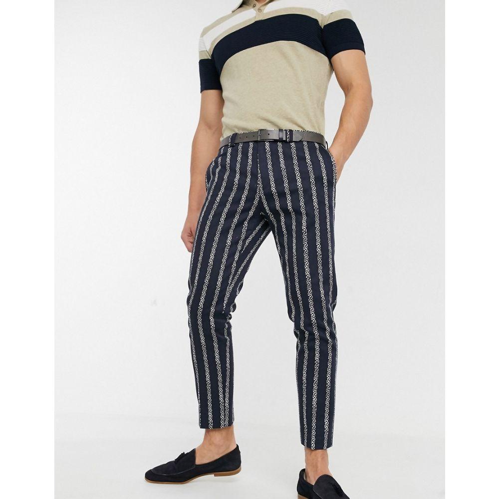 ヴィーゴ Viggo メンズ ボトムス・パンツ 【smart trousers with stripes in blue】Blue