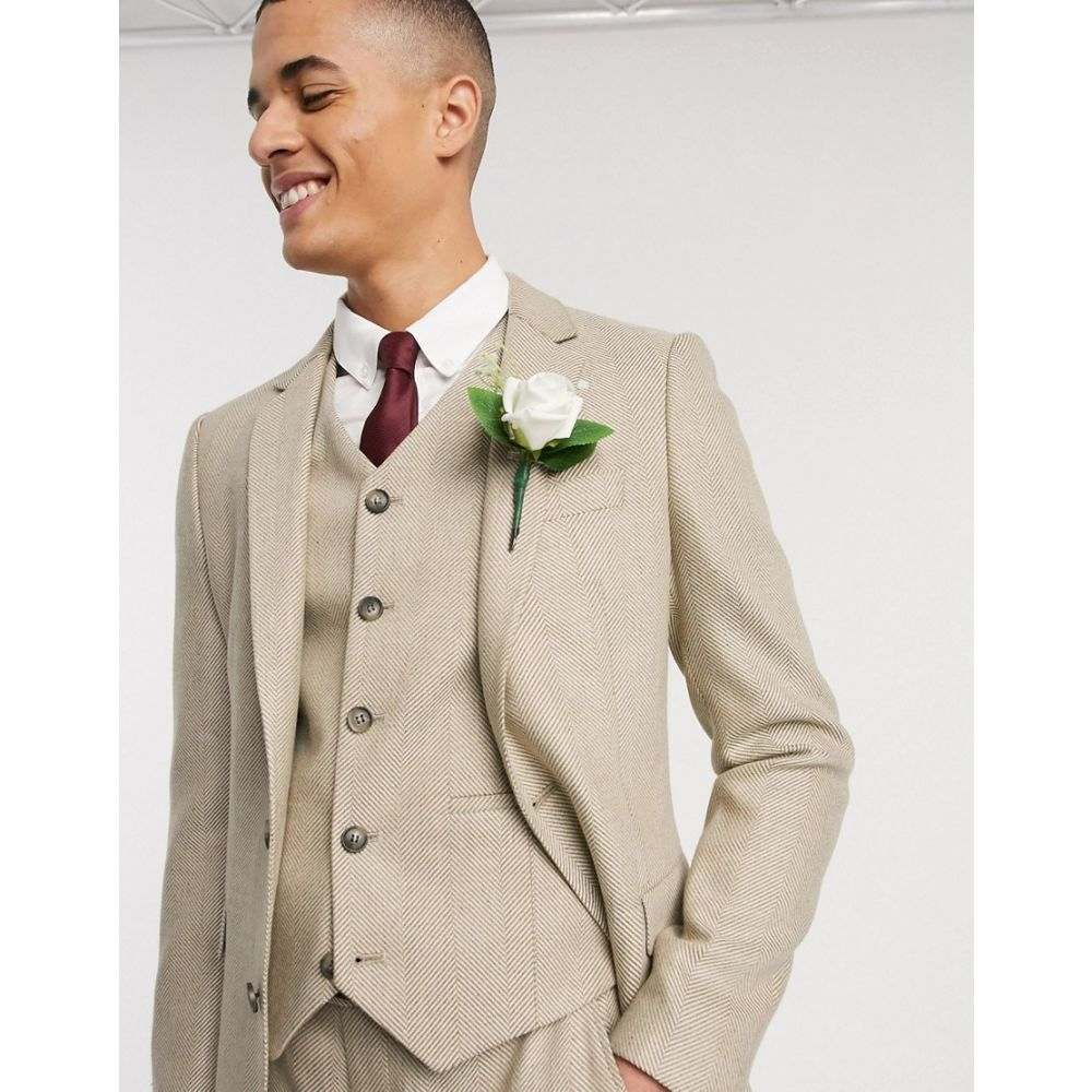 エイソス ASOS DESIGN メンズ スーツ・ジャケット アウター【wedding slim suit jacket in wool mix herringbone in camel】Camel