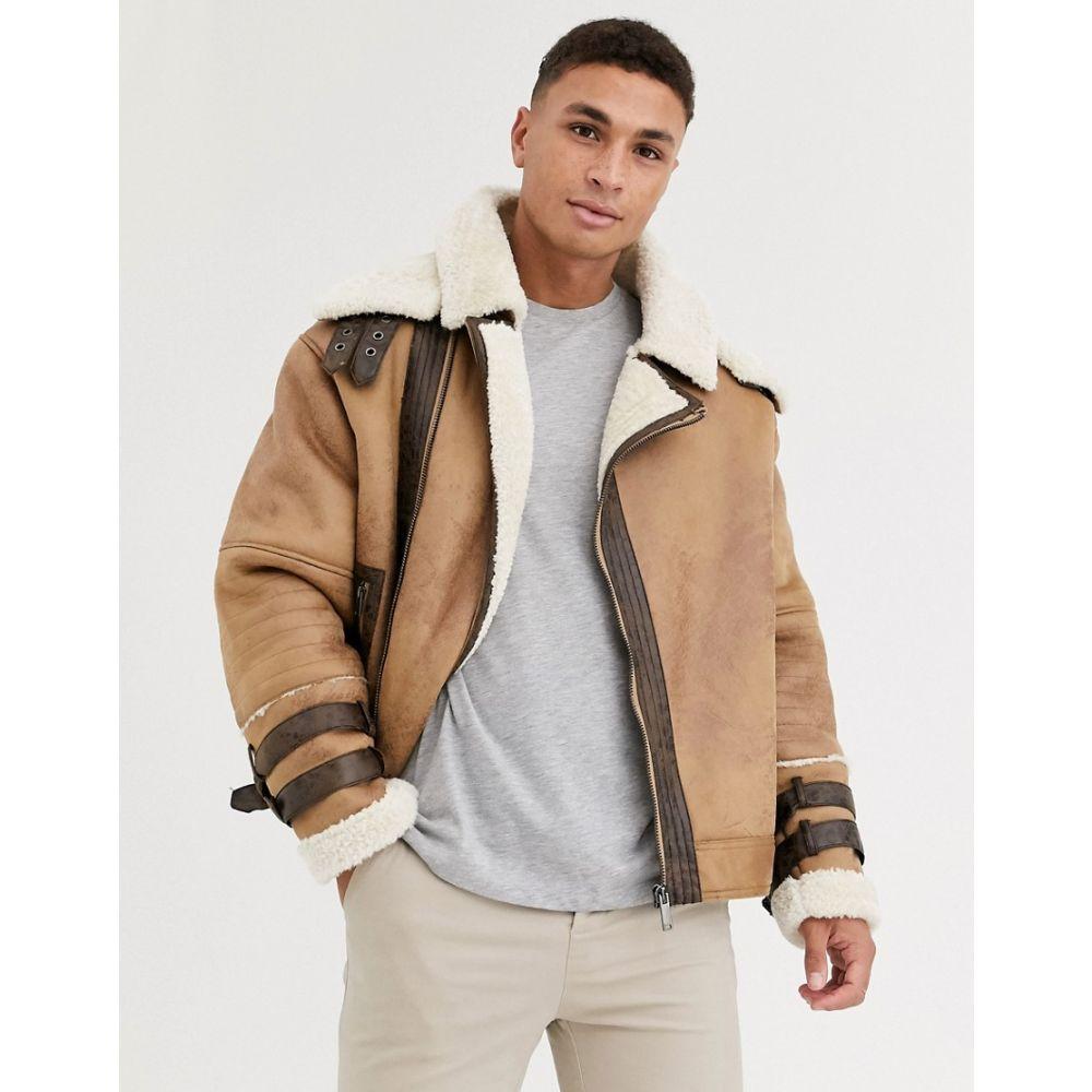 リバーアイランド River Island メンズ コート アビエイター アウター【borg lined aviator coat in tan】Tan