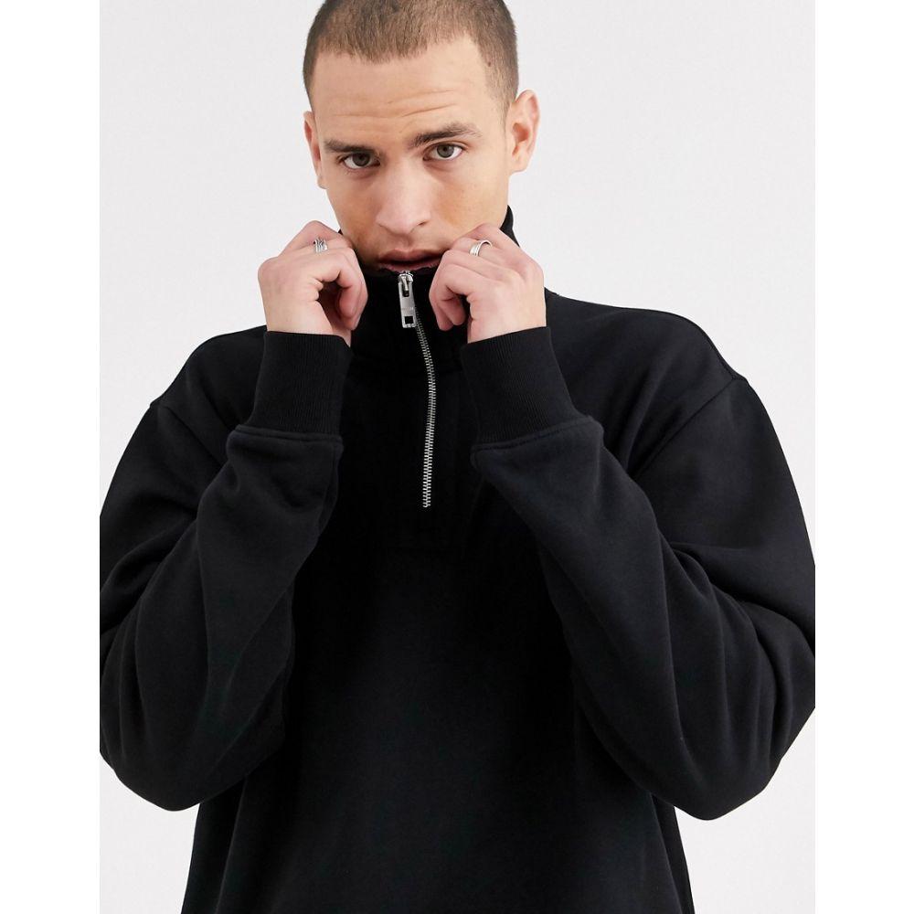 ウィークデイ Weekday メンズ スウェット・トレーナー トップス【Markus zip sweatshirt in black】Black