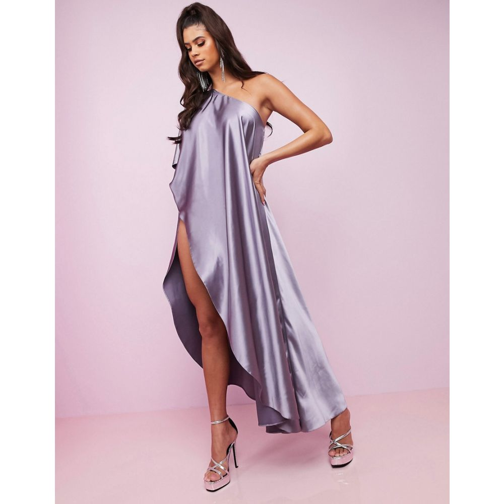 エイソス ASOS DESIGN レディース ワンピース ワンピース・ドレス【Luxe premium satin one shoulder cape high split maxi dress】Smoke