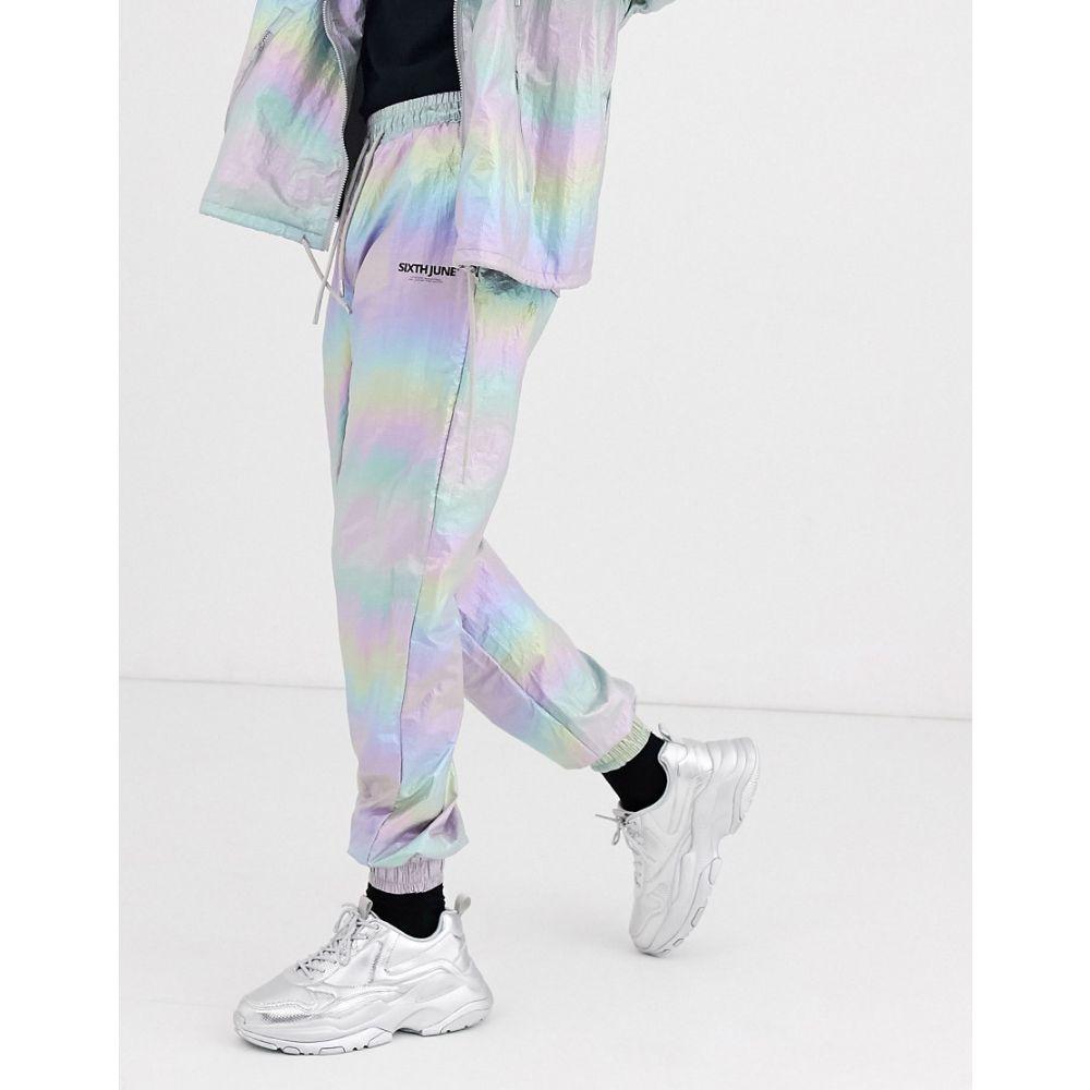 シックススジューン Sixth June メンズ スウェット・ジャージ ボトムス・パンツ【holographic reflective track pant】Silver