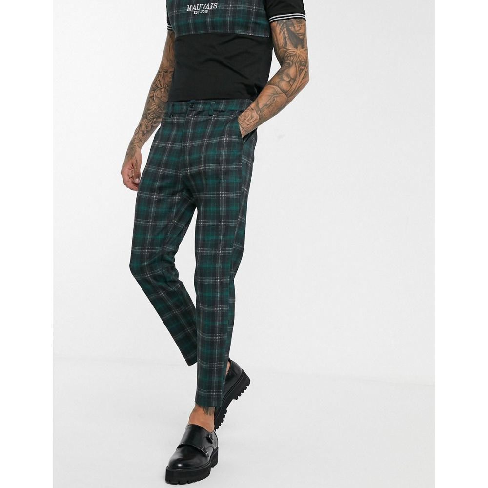モーヴェ Mauvais メンズ ボトムス・パンツ 【tapered trousers in green and black check】Green
