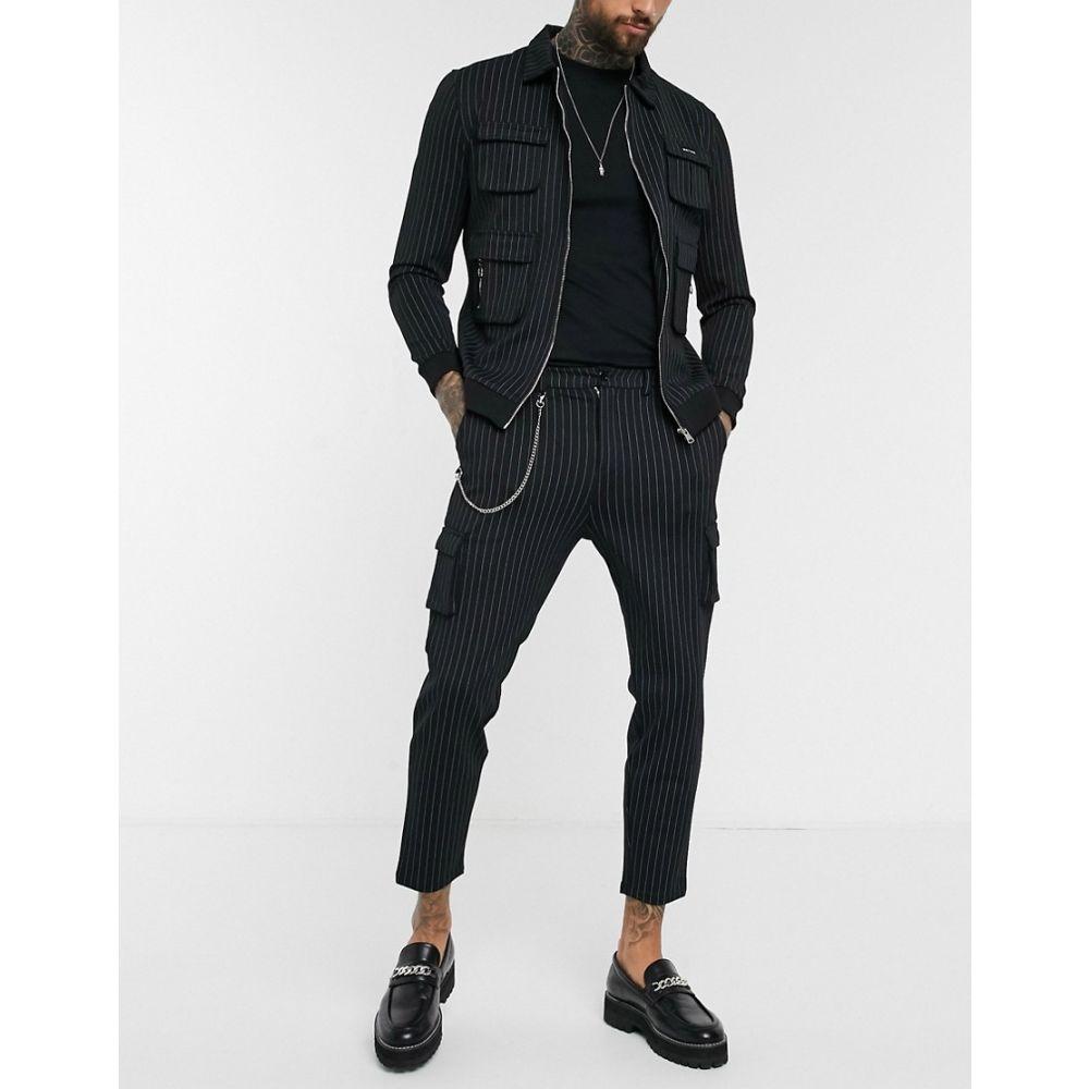 モーヴェ Mauvais メンズ カーゴパンツ ボトムス・パンツ【cargo trousers with chain in black pinstripe】Black