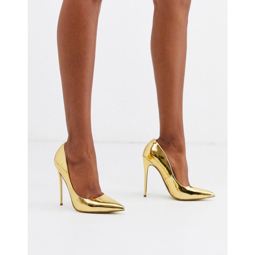 エイソス ASOS DESIGN レディース パンプス ピンヒール シューズ・靴【Penelope stiletto court shoes in gold】Gold mirror