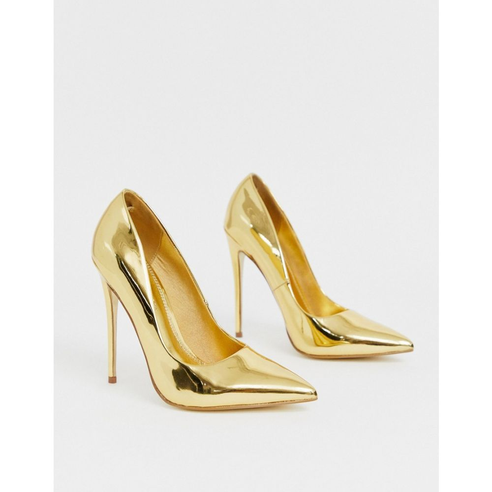 エイソス ASOS DESIGN レディース パンプス ピンヒール シューズ・靴 Penelope stiletto court shoes in gold Gold mirrormN0Oyv8nw