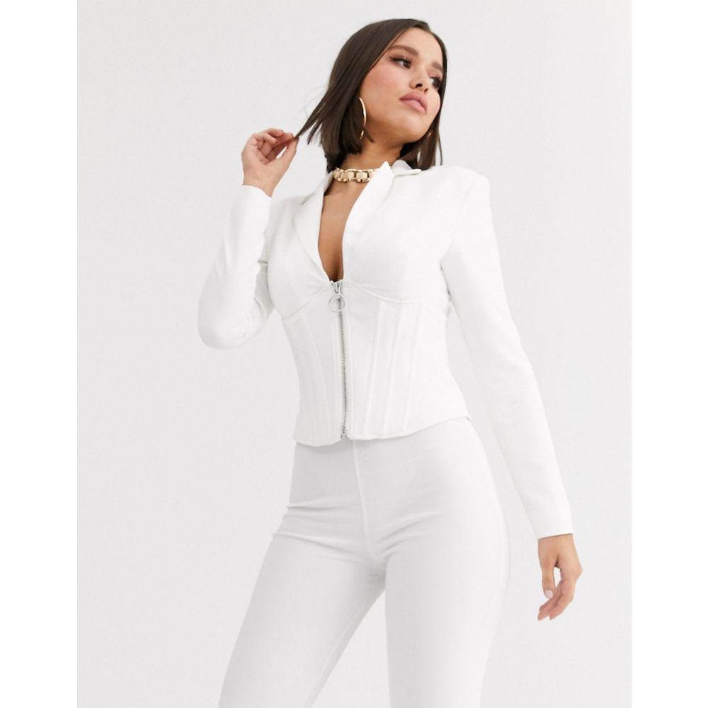 エイソス ASOS DESIGN レディース スーツ・ジャケット アウター【corset blazer with boning】White