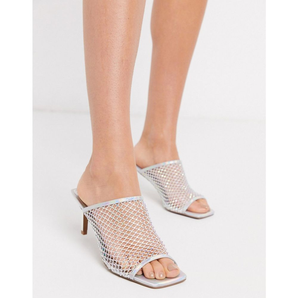 エイソス ASOS DESIGN レディース サンダル・ミュール シューズ・靴【Harmony embellished mesh mid-heeled sandals in silver iridescent】Silver