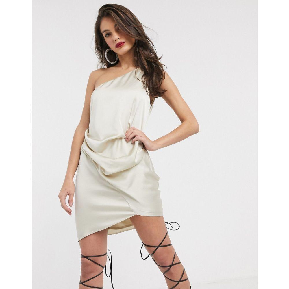 エイソス ASOS DESIGN レディース ワンピース ワンピース・ドレス【one shoulder drape mini dress in satin】Champagne