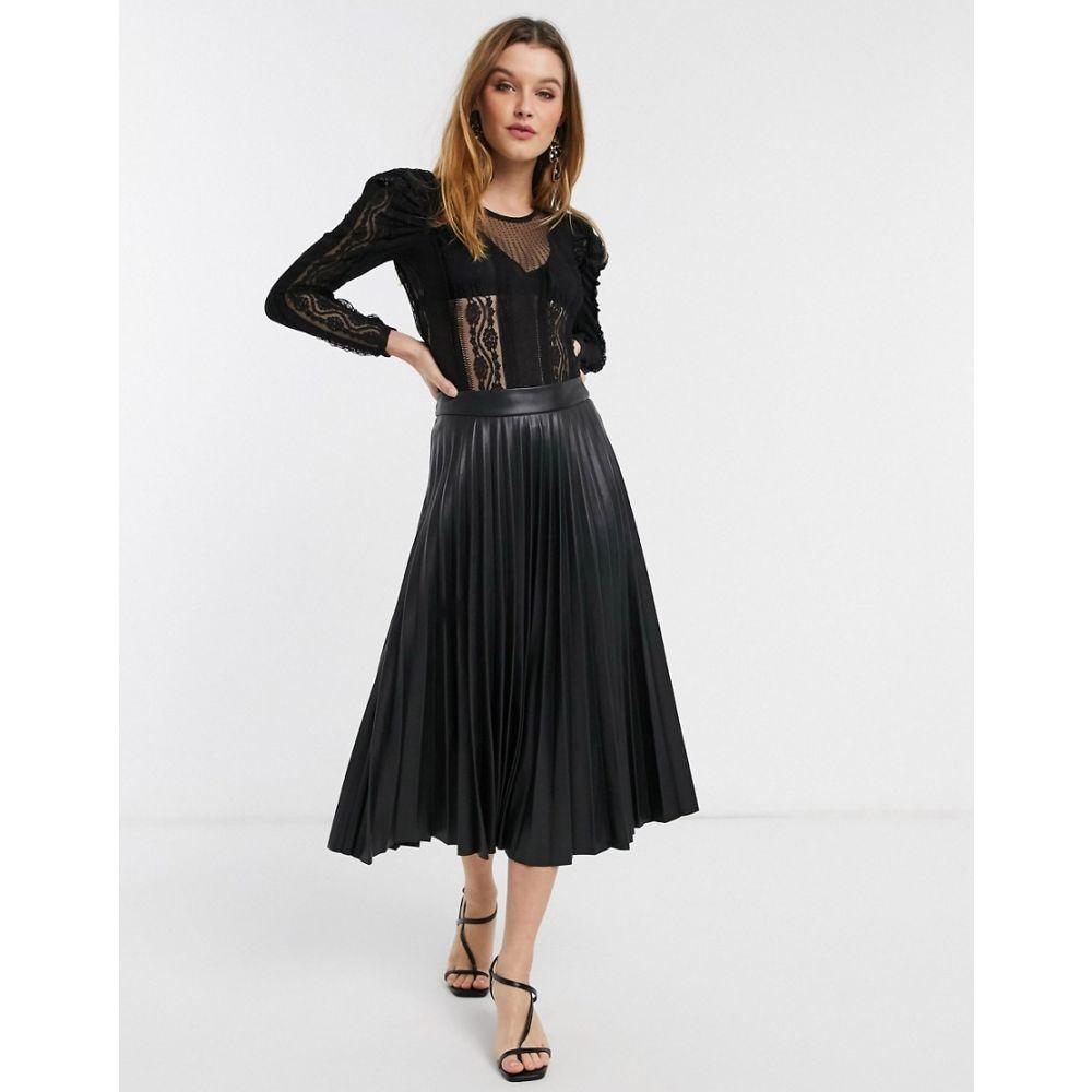 リバーアイランド River Island レディース ボディースーツ インナー・下着 long sleeve lace bodysuit with puff sleeves in black Blackj54L3AR