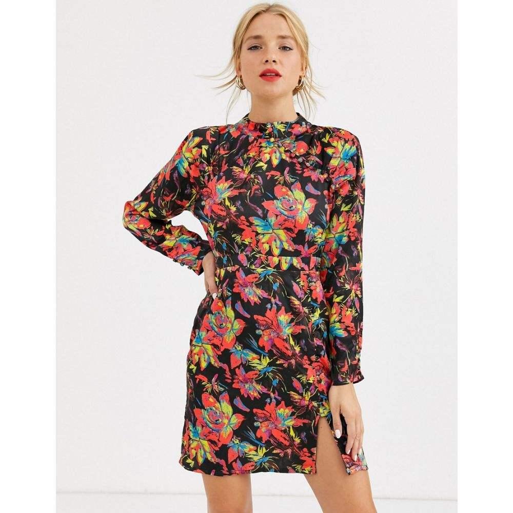 ダスティーデイズ Dusty Daze レディース ワンピース ワンピース・ドレス【mini dress with high collar and clasps in dark floral print】Black multi