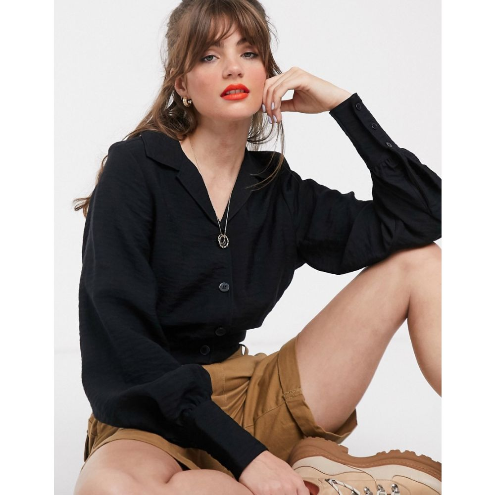 アンドアザーストーリーズ & Other Stories レディース ブラウス・シャツ トップス【button through puff sleeve blouse in black】Black