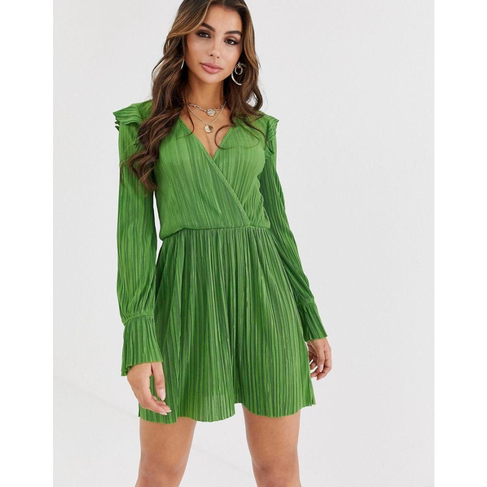 エイソス ASOS DESIGN レディース ワンピース ラップドレス ミニ丈 ワンピース・ドレス【mini wrap front plisse tea dress】Sage green