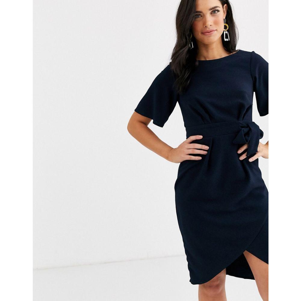 クローゼットロンドン Closet London レディース ワンピース ラップドレス ワンピース・ドレス【Closet wrap front short sleeve dress】Navy