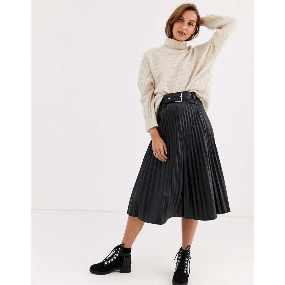 リバーアイランド River Island レディース ひざ丈スカート スカート【faux leather pleated midi skirt in black】Black