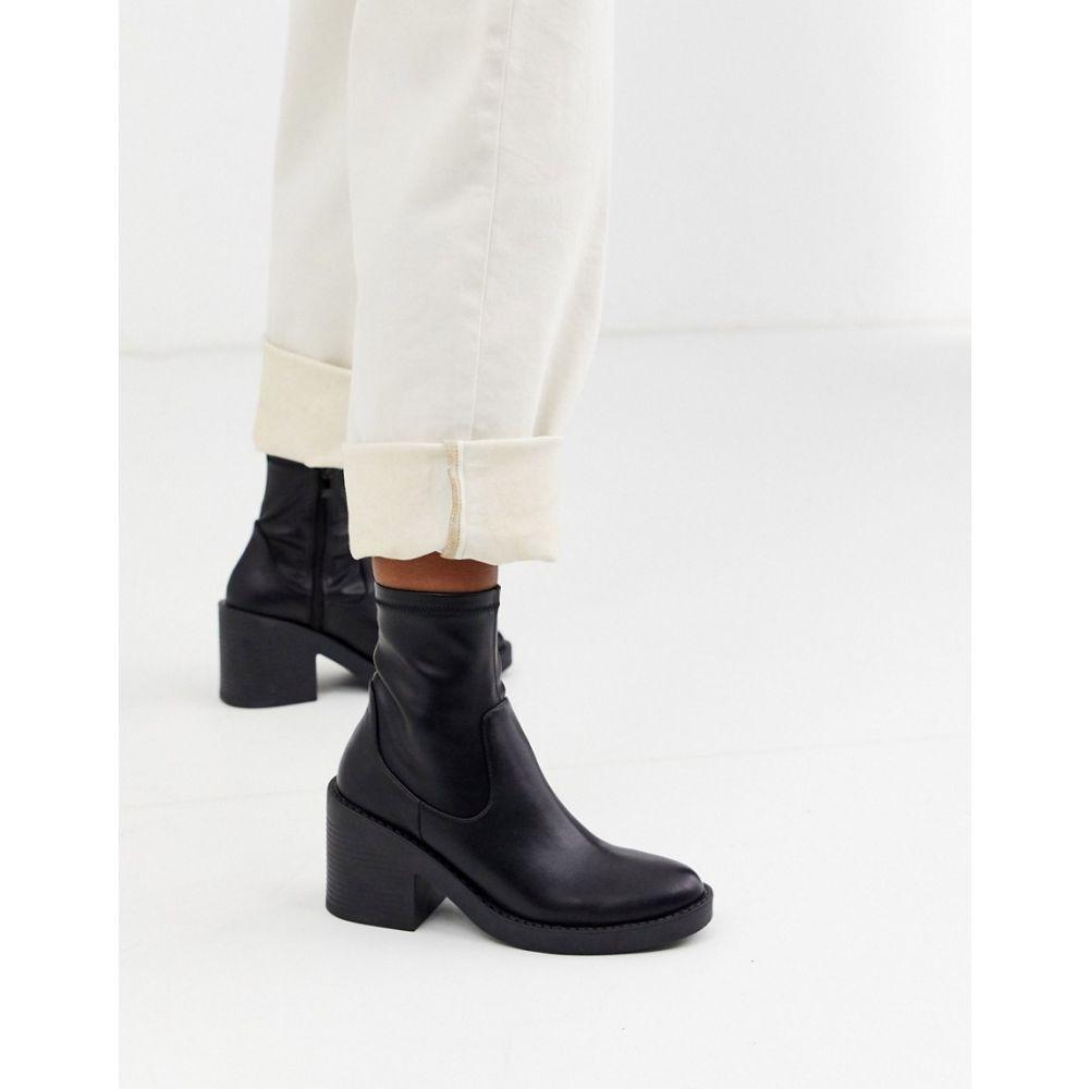 レイド Raid レディース ブーツ チャンキーヒール シューズ・靴【RAID Tatum chunky sock boots in black】Black pu