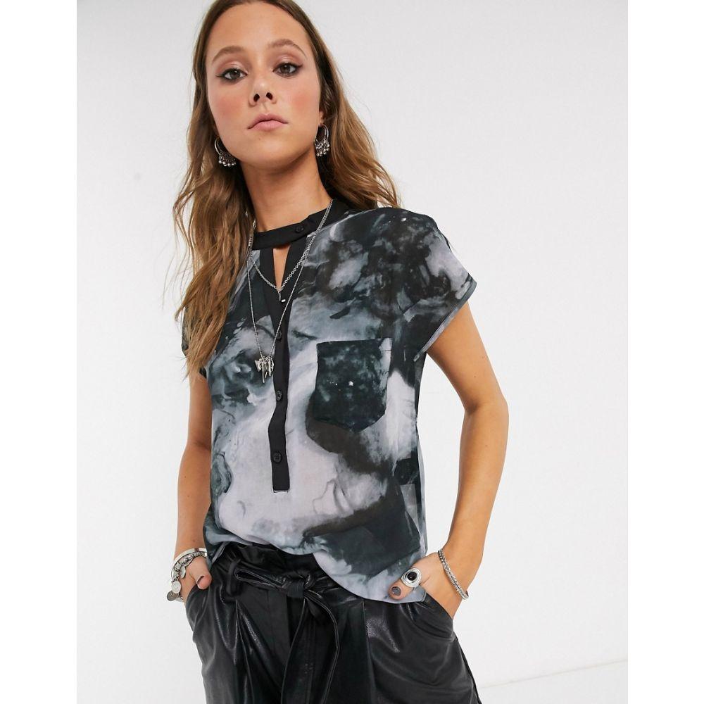 レリジョン Religion レディース ブラウス・シャツ トップス【elation cap sleeve shirt in mist print】Grey/black