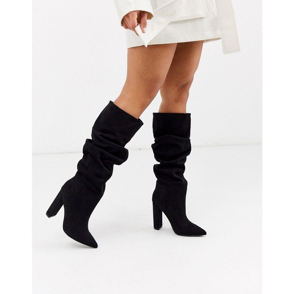 スティーブ マデン Steve Madden レディース ブーツ シューズ・靴【Slouch heeled knee high boots in black】Black micro
