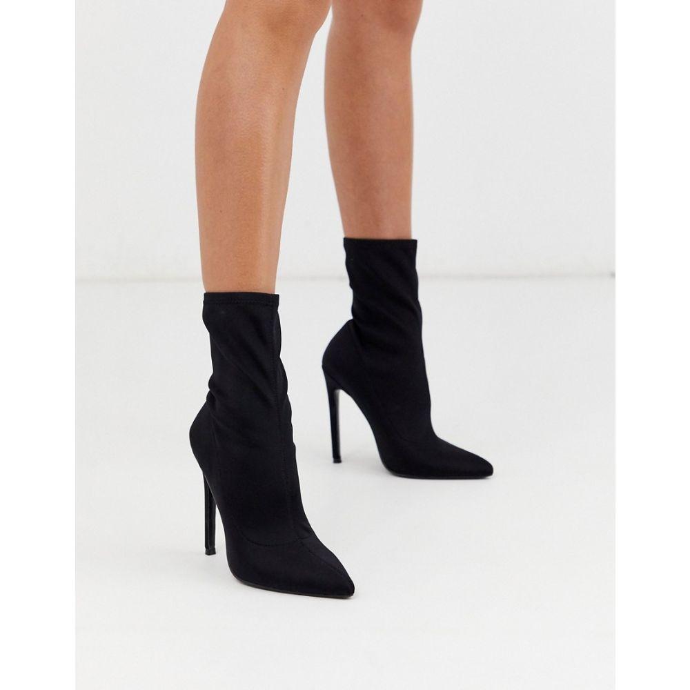 エイソス ASOS DESIGN レディース ブーツ シューズ・靴【Esmerelda high heeled sock boots in black】Black