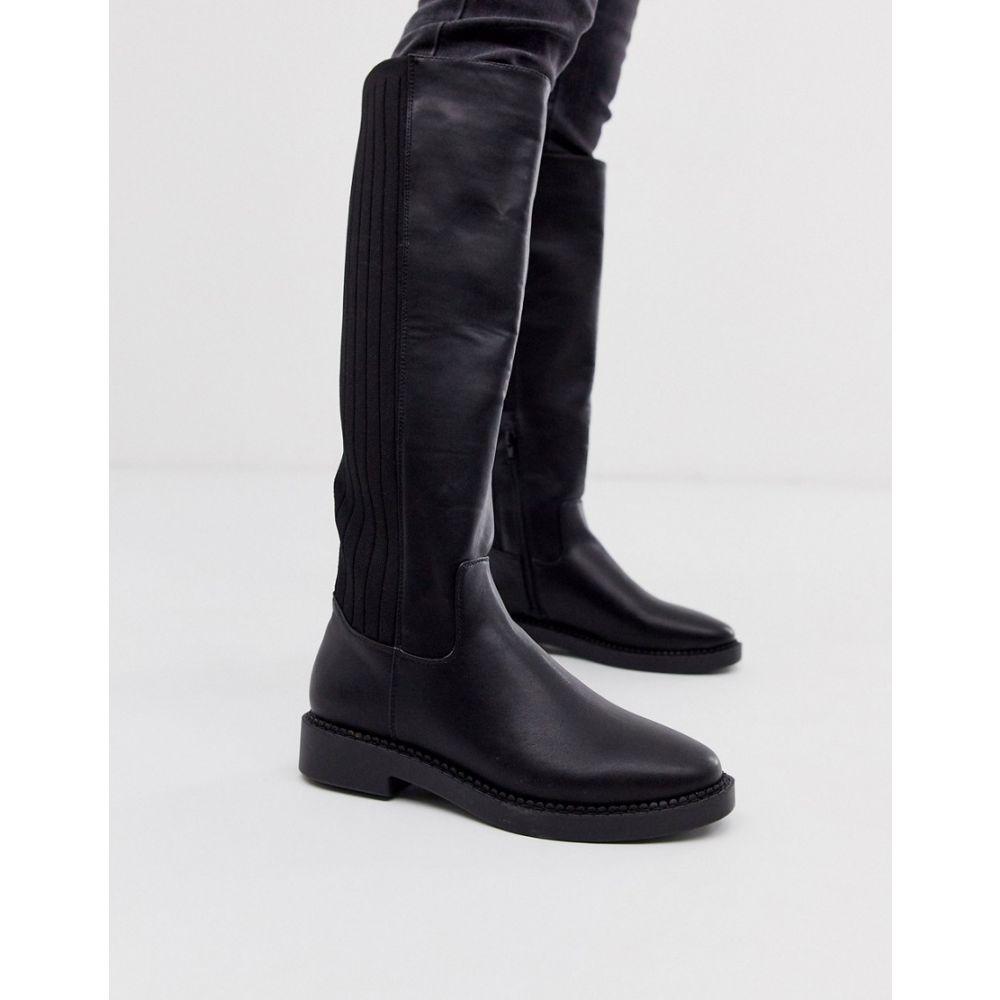 エイソス ASOS DESIGN レディース ブーツ チャンキーヒール シューズ・靴【Capital chunky knee high boots in black knit】Black mix