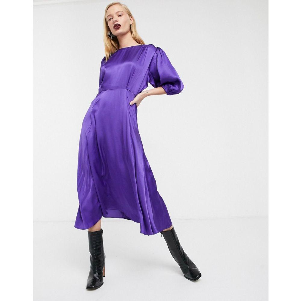 エイソス ASOS WHITE レディース ワンピース ミドル丈 ワンピース・ドレス【satin puff sleeve midi tea dress】Purple